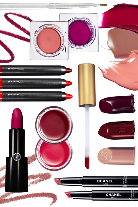 """<p><em><em>From left clockwise: Mirabella lip brush, $29, <a href=""""https://mirabellabeauty.com/lip-brush.html"""" target=""""_blank"""">mirabella.beauty.com</a>; Milani Amore Matte Lip Crème in Devotion, $8.99<span class=""""redactor-invisible-space"""">, <a href=""""https://milanicosmetics.com/Amore-Matte-Lip-Creme.html"""" target=""""_blank"""">milanicosmetics.com</a><span class=""""redactor-invisible-space"""">; Chanel Rouge Coco Stylo in Lettre and Histoire, $37 each<span class=""""redactor-invisible-space"""">, <a href=""""http://www.chanel.com/en_US/fragrance-beauty/makeup-lipstick-rouge-coco-stylo-140392"""" target=""""_blank"""">chanel.com</a><span class=""""redactor-invisible-space"""">; Sisley Paris Phyto-Lip Twist in Litchi, $50<span class=""""redactor-invisible-space"""">, <a href=""""http://www.sisley-paris.com/en-US/phyto-lip-twist-3473311878000.html"""" target=""""_blank"""">sisley-paris.com</a><span class=""""redactor-invisible-space"""">; Sephora Collection Rouge Cream Lipstick in Crush, $12.50<span class=""""redactor-invisible-space"""">, <a href=""""http://www.sephora.com/rouge-cream-lipstick-P249814"""" target=""""_blank"""">sephora.com</a><span class=""""redactor-invisible-space""""><a href=""""http://www.sephora.com/rouge-cream-lipstick-P249814""""></a>; Urban Decay x Gwen Stefani Lipstick in Plaid, $18<span class=""""redactor-invisible-space"""">, <a href=""""http://www.urbandecay.com/ud-gwen-stefani-lipstick-by-urban-decay/UD721.html"""" target=""""_blank"""">urbandecay.com</a><span class=""""redactor-invisible-space"""">; Gucci Luxurious Moisture-Rich Lipstick in Carnation, $39<span class=""""redactor-invisible-space"""">, <a href=""""https://www.gucci.com/us/en/pr/beauty/lips/luxurious-lipstick/carnation-luxurious-lipstick-p-3674029PLP25905?position=2&listName=ProductGridWComponent&categoryPath=Beauty/Lips/Luxurious-Lipstick"""" target=""""_blank"""">www.gucci.com</a><span class=""""redactor-invisible-space"""">; <em><span class=""""redactor-invisible-space""""><span class=""""redactor-invisible-space"""">Chanel Rouge Coco Stylo in Lettre and Histoire, $37 each<span class=""""redactor-invisible-space"""">, <a href"""