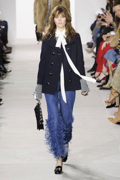 Footwear, Textile, Winter, Outerwear, Fashion show, Style, Street fashion, Jacket, Bag, Runway,