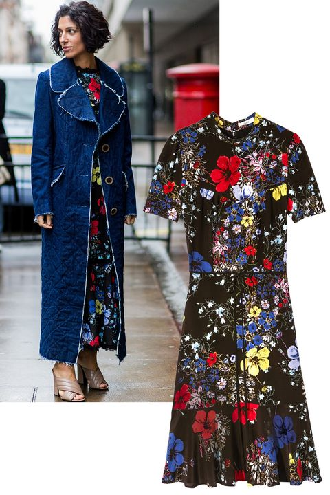 "<p>London-based brand Erdem gives good florals—spotted in its hometown in action on Yasmin Sewell.</p><p><em><strong>Erdem</strong> dress, $1,165, <strong><a href=""https://shop.harpersbazaar.com/designers/e/erdem/anne-ss-dress-with-hem-flounce-6168.html"" target=""_blank"">shopBAZAAR.com</a></strong></em><em>.</em><br></p>"