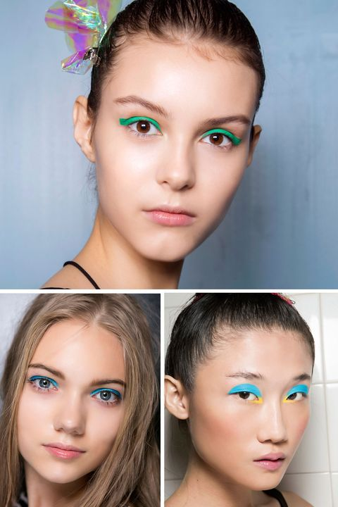 <p>Neutrals have their place and time, but this season's bursts of teal, cobalt and turquoise are the brightest new idea for eyes. Add a small dose with a thin line along the upper lashes, or go bold with an all-over-lid look.</p>