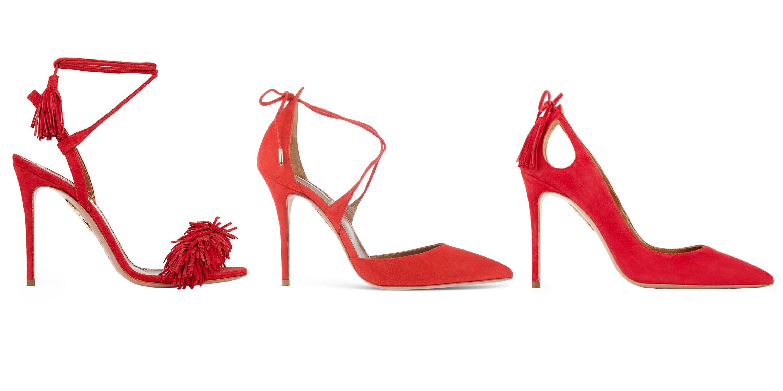 """<p><em><strong>Aquazzura</strong> """"Wild Thing"""" sandal, $785, <strong><a href=""""https://shop.harpersbazaar.com/designers/a/aquazzura/wild-thing-7366.html"""" target=""""_blank"""">shopBAZAAR.com</a></strong>; <strong>Aquazzura</strong> suede pump, <strong><a href=""""https://shop.harpersbazaar.com/designers/a/aquazzura/red-suede-pump-7797.html"""" target=""""_blank"""">shopBAZAAR.com</a></strong>; <strong>Aquazzura</strong> """"Forever Marilyn"""" pump, $750, <strong><a href=""""https://shop.harpersbazaar.com/designers/a/aquazzura/forever-marilyn-pump-6372.html"""" target=""""_blank"""">shopBAZAAR.com</a></strong>.</em><em></em></p>"""