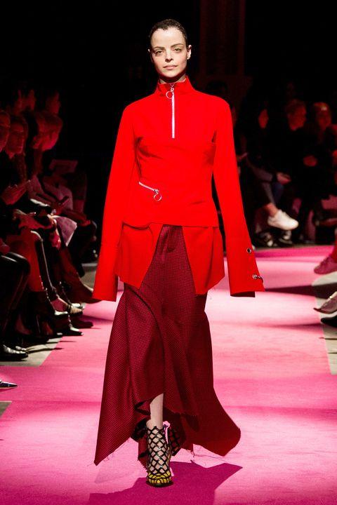 Fashion show, Runway, Shoe, Red, Outerwear, Fashion model, Style, Fashion, Carmine, Carpet,