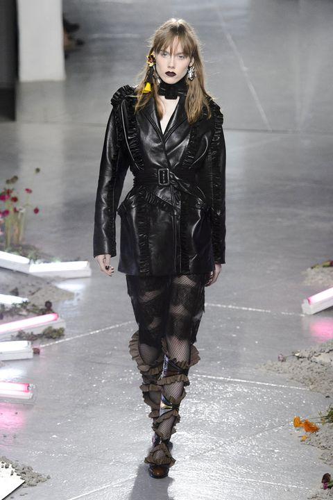 Outerwear, Fashion show, Style, Fashion model, Runway, Jacket, Winter, Fashion, Street fashion, Leather,