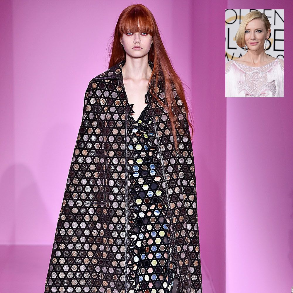<p><strong>What:</strong> Givenchy Haute Couture Spring 2016</p><p><strong>Why: </strong>Always a risk-taker on the red carpet—Blanchett would be the fashionable superhero of our dreams in this caped confection. </p>