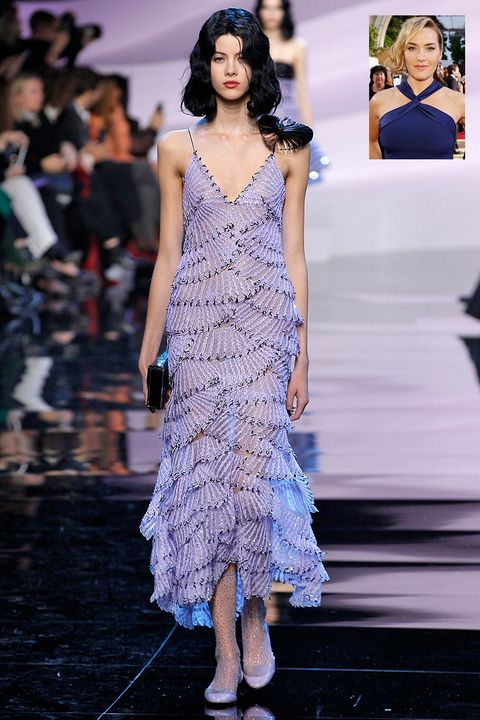 <p><strong>What:</strong> Armani Prive Spring 2016</p><p><strong>Why: </strong>Cascading ruffles would emphasize Winslet's curves to perfection. </p>