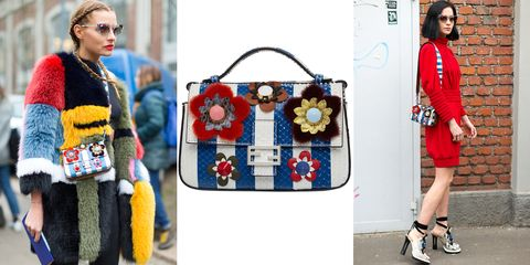 "<p>Fendi's appliqué ""Baguette"" bag is the definition of a floral fantasy. Spotted on the likes of DJ and style-star Leigh Lezark (right), it lends a ladylike touch to all outfits.<br></p><p><strong>Fendi</strong> ""Baguette"" bag, $3,150, <strong><a href=""https://shop.harpersbazaar.com/designers/f/fendi/striped-bag-8000.html"" target=""_blank"">shopBAZAAR.com</a></strong><span class=""redactor-invisible-space"">.<br></span> </p>"