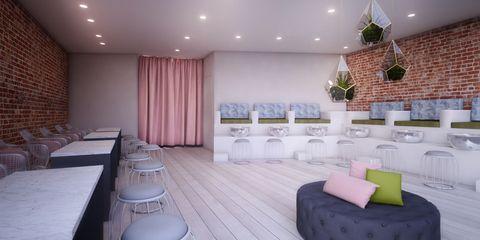 Interior design, Floor, Room, Textile, Wall, Flooring, Interior design, Real estate, Purple, Lavender,