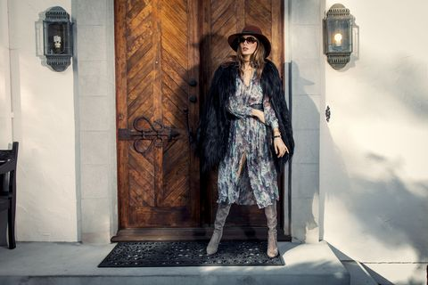 "<p>""I would wear this look out for a girls day brunching or shopping, or to a cool rock n roll gig. I feel most comfortable in 70's attire, hats, shades and a big furry jacket.""</p><p><em>Zimmerman dress, Scanlan & Theodore Goat Hair Jacket, Goorin Bros. Hat, Chanel necklace, Miu Miu Sunglasses, Stuart Weizman Boots, All jewelry <a href=""http://trunfiouniverse.com/"" target=""_blank"">Trunfio Universe</a>, collection coming soon.</em></p>"