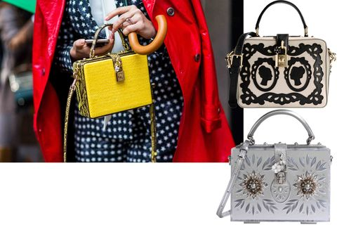 "<p>There were many a Dolce & Gabbana sighting at the shows, and these embellished box bags were trending. </p><p>Dolce & Gabbana bag, $3,495, <strong><a href=""https://shop.harpersbazaar.com/designers/d/dolce-and-gabbana/black-and-beige-embroidered-bag-8620.html"" target=""_blank"">shopBAZAAR.com</a></strong>; Dolce & Gabbana bag, $4,795, <strong><a href=""https://shop.harpersbazaar.com/designers/d/dolce-and-gabbana/dolce-and-gabbana-purse-6401.html"" target=""_blank"">shopBAZAAR.com</a></strong>.<span class=""redactor-invisible-space""><br></span></p>"