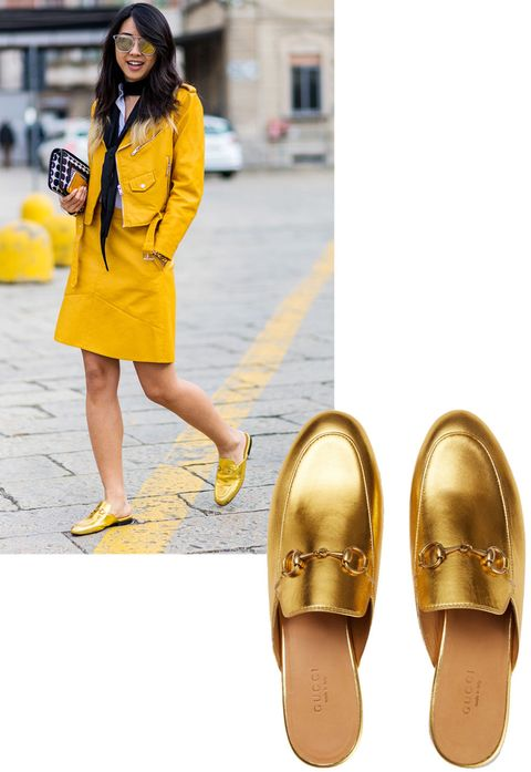 "<p>Metallic shoes are big news for spring and Yuwei Zhangzou got a head start on the trend with Gucci's ""Princetown"" metallic loafer. </p><p><strong>Gucci </strong>""Princetown"" loafer, $595, <strong><a href=""https://shop.harpersbazaar.com/designers/g/gucci/princetown-metallic-loafer-8561.html"" target=""_blank"">shopBAZAAR.com</a></strong>.<br></p>"