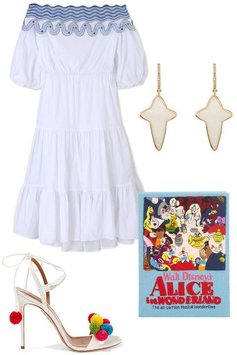 Product, Textile, White, Dress, One-piece garment, Pattern, Day dress, Lavender, Fashion design, Toy,