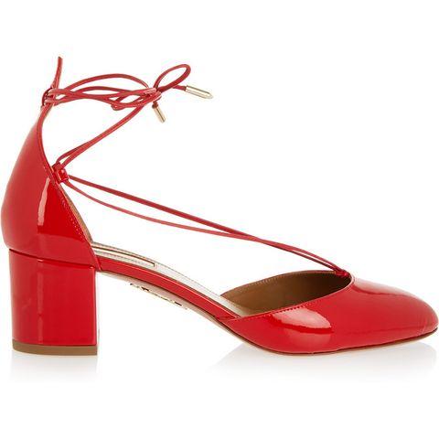 """<p><em>Aquazzura shoe, $695, <a href=""""https://www.net-a-porter.com/us/en/product/638306/Aquazzura/alexa-patent-leather-pumps"""" target=""""_blank"""">net-a-porter.com</a>.</em> </p>"""