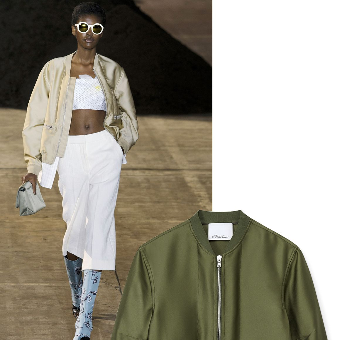 """<p>""""For spring 2016, the design team and I explored the past, present and future of the brand's DNA which has always been 'youthful elegance'.""""—Phillip Lim </p><p>        <em><strong>3.1 Phillip Lim</strong> jacket, $850, <strong><a href=""""https://shop.harpersbazaar.com/designers/0-9/31-phillip-lim/tromp-loeil-bomber-jacket-8428.html"""" target=""""_blank"""">shopBAZAAR.com</a></strong></em><span class=""""redactor-invisible-space""""><em>.</em><br></span></p>"""