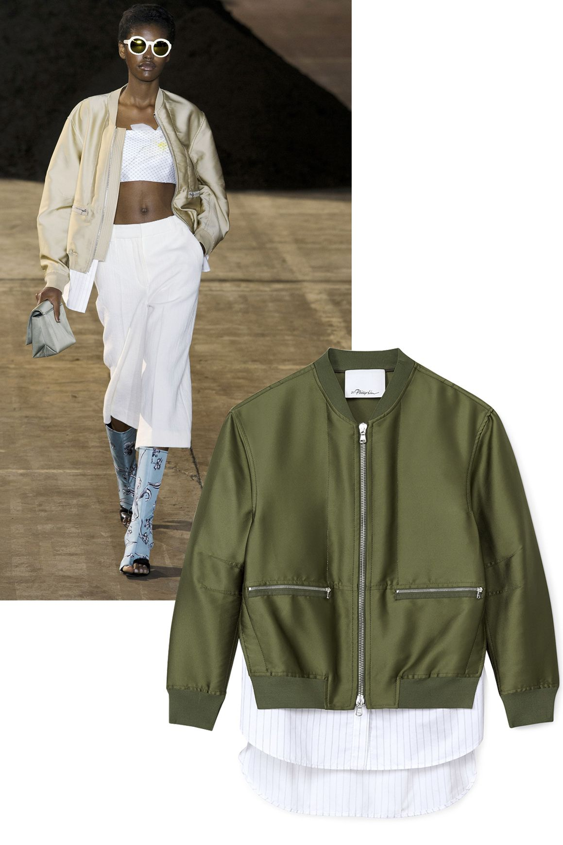 "<p>""For spring 2016, the design team and I explored the past, present and future of the brand's DNA which has always been 'youthful elegance'.""—Phillip Lim </p><p>        <em><strong>3.1 Phillip Lim</strong> jacket, $850, <strong><a href=""https://shop.harpersbazaar.com/designers/0-9/31-phillip-lim/tromp-loeil-bomber-jacket-8428.html"" target=""_blank"">shopBAZAAR.com</a></strong></em><span class=""redactor-invisible-space""><em>.</em><br></span></p>"