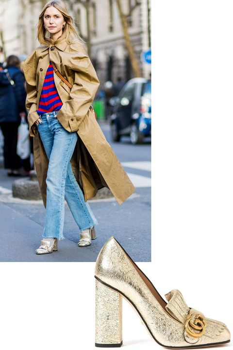 "<p>From New York to London to Milan and now Paris, the gold Gucci loafer did serious mileage. Pernille Teisbaek proves it's still going strong. </p><p><strong>Gucci</strong> pump, $870, <strong><a href=""https://shop.harpersbazaar.com/designers/g/gucci/marmont-metallic-pumps-7293.html"" target=""_blank"">shopBAZAAR.com</a></strong>.<span class=""redactor-invisible-space""><br></span></p>"