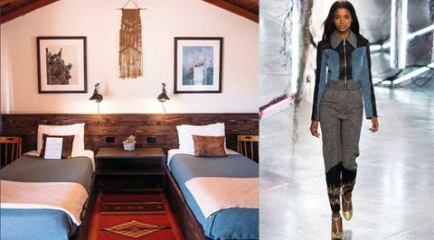 "<p>The hip Pioneertown Motel in Pioneertown, California shows off the western trend that a lot of designers did so well, like these sleek separates with touches of denim from Alberta Ferretti. Art in the form of a suede woven wall hanging, a <a href=""http://www.garlandsrugs.com/collections/navajo-rugs-home"" target=""_blank"">Navajo-inspired rug</a> and reclaimed wood wall paneling come together in a sophisticated nod to the Wild West.<br></p>"