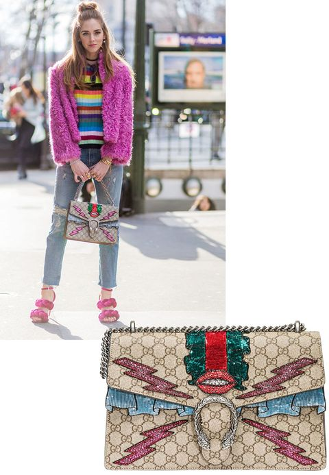 "<p>Spring 2016 is all about wearing sparkles for day and night, and this Gucci handbag spotted on Chiara Ferragni couldn't be more <i>parfait. </i></p><p><strong>Gucci</strong> bag, $3800, <strong><a href=""https://shop.harpersbazaar.com/designers/g/gucci/medium-embroidered-bag-8294.html"" target=""_blank"">shopBAZAAR.com</a></strong>.<span class=""redactor-invisible-space""><br></span></p>"