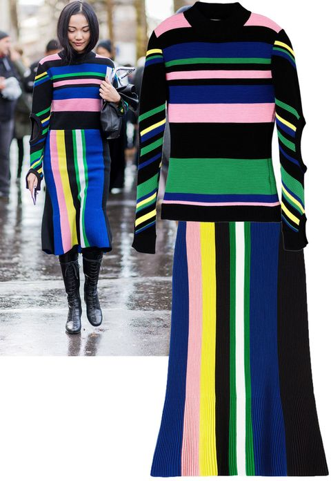 "<p>Yoyo Cao made the case for wearing matching sets and we think this J.W. Anderson one is made in heaven.</p><p><strong>J.W.Anderson</strong> top, $785, <strong><a href=""https://shop.harpersbazaar.com/designers/j/jwanderson/multicolor-stripe-top-8455.html"" target=""_blank"">shopBAZAAR.com</a></strong>&#x3B;  <strong>J.W.Anderson</strong> skirt, $655, <strong><a href=""https://shop.harpersbazaar.com/Designers/J/JW-Anderson/Vertical-Stripe-Knit-Skirt-5707.html"" target=""_blank"">shopBAZAAR.com</a></strong>.<br></p>"