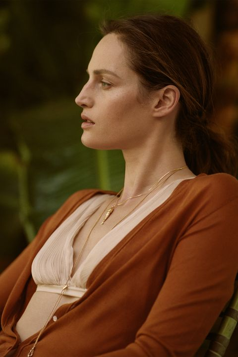 """<p><strong>Altuzarra </strong>cardigan, $695, similar styles available at neimanmarcus.com; <strong>Emanno S</strong><strong>cervino </strong>bra, $640, 305-866-0311; <strong>Turner & Tatler by Cindy Chaplin </strong><span class=""""redactor-invisible-space"""">necklace, $450-$2,600, Neiman Marcus, 888-888-4757.</span></p>"""