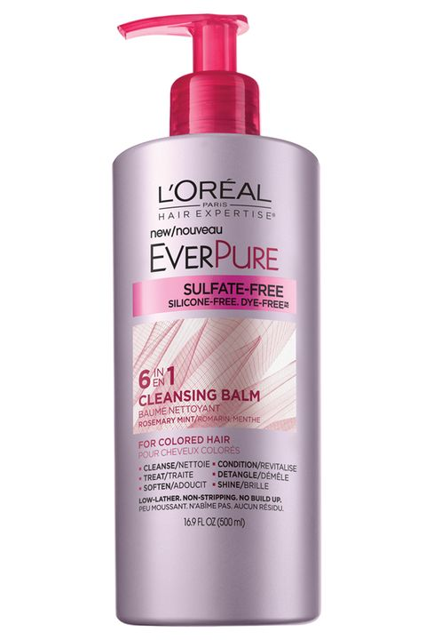"<p>Caring for color-treated hair with sulfate-free shampoo and conditioner is one of the best ways to help keep it from fading. On the days when your hair doesn't need a deep clean with a traditional shampoo and conditioner, try <strong><a href=""http://www.lorealparisusa.com/en/products/hair-care/products/cleansing-conditioner/hair-expertise-everpure-cleansing-balm.aspx"">L'Oréal Paris EverPure Cleansing Balm</a> </strong>($11.99). It's a sulfate-free, low-lather conditioner, which transforms into a gentle cleanser that nourishes hair, fights frizz, and helps retain color. </p>"