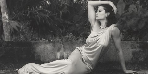 Lip, Photograph, Dress, Style, Beauty, Sitting, Model, Fashion model, Monochrome photography, Flash photography,