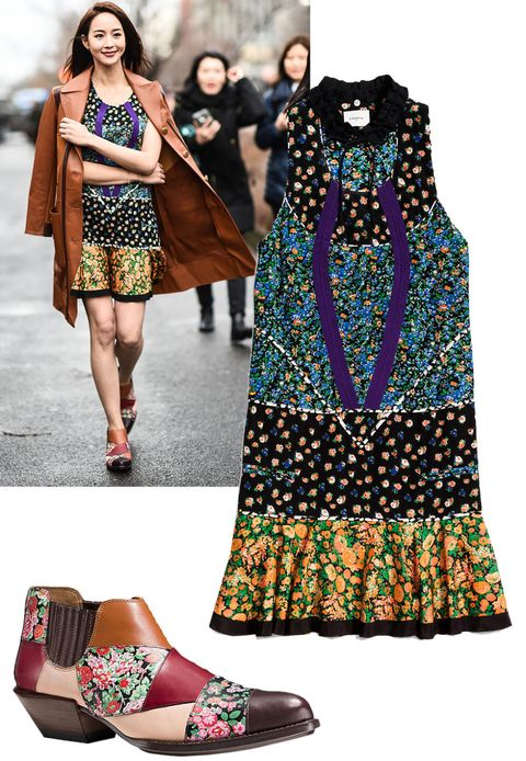 "<p><strong>Who: </strong>Janine Chang </p><p><strong>Style Lesson: </strong>Make the '70s-inspired pattern totally modern in a floral incarnation, topped with a leather trench. <br> </p><p><em>Coach 1941 Applique Collage Dress, $795, <a rel=""noskim"" href=""http://www.coach.com/coach-designer-dresses-applique-collage-dress/86663.html?dwvar_color=MTI&CID=D_B_HBZ_10360"" target=""_blank"">coach.com</a>; Coach <em>1941</em> Patchwork Bandit Shoe, $495, </em><a rel=""noskim"" href=""http://www.coach.com/coach-designer-booties-patchwork-bandit-shoe/Q8180.html?dwvar_color=L39&CID=D_B_HBZ_10387"" target=""_blank""><em>coach.com</em></a></p>"