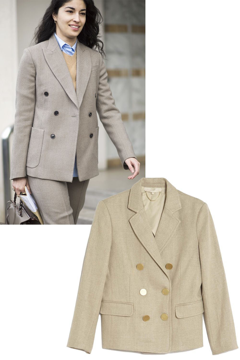 "<p>A blazer in a neutral hue is less conventional than black but equally as buttoned-up.</p><p><em><strong>Vanessa Bruno</strong> ""Epone"" jacket, $920, <strong><a href=""https://shop.harpersbazaar.com/designers/v/vanessa-bruno/epone-linen-jacket-8702.html"" target=""_blank"">shopBAZAAR.com</a></strong>.</em><span class=""redactor-invisible-space""><em></em><br></span></p>"