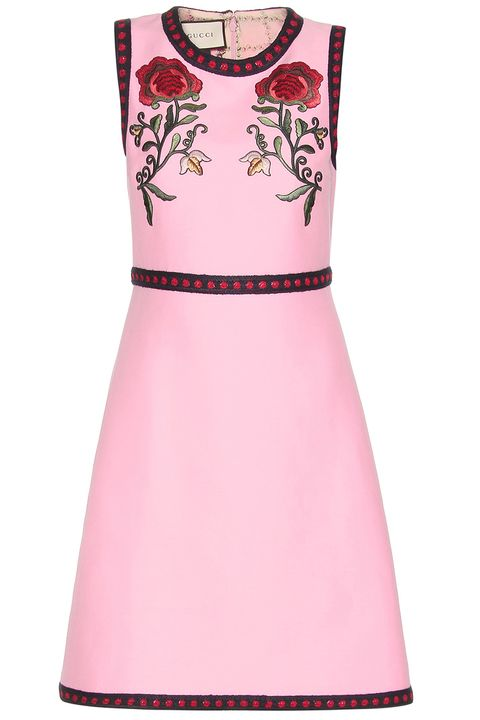 "<p><em>Gucci dress, $2,890, <a href=""http://www.mytheresa.com/en-us/silk-and-cotton-dress-with-applique-568813.html?catref=category"" target=""_blank"">mytheresa.com</a>.</em> </p>"