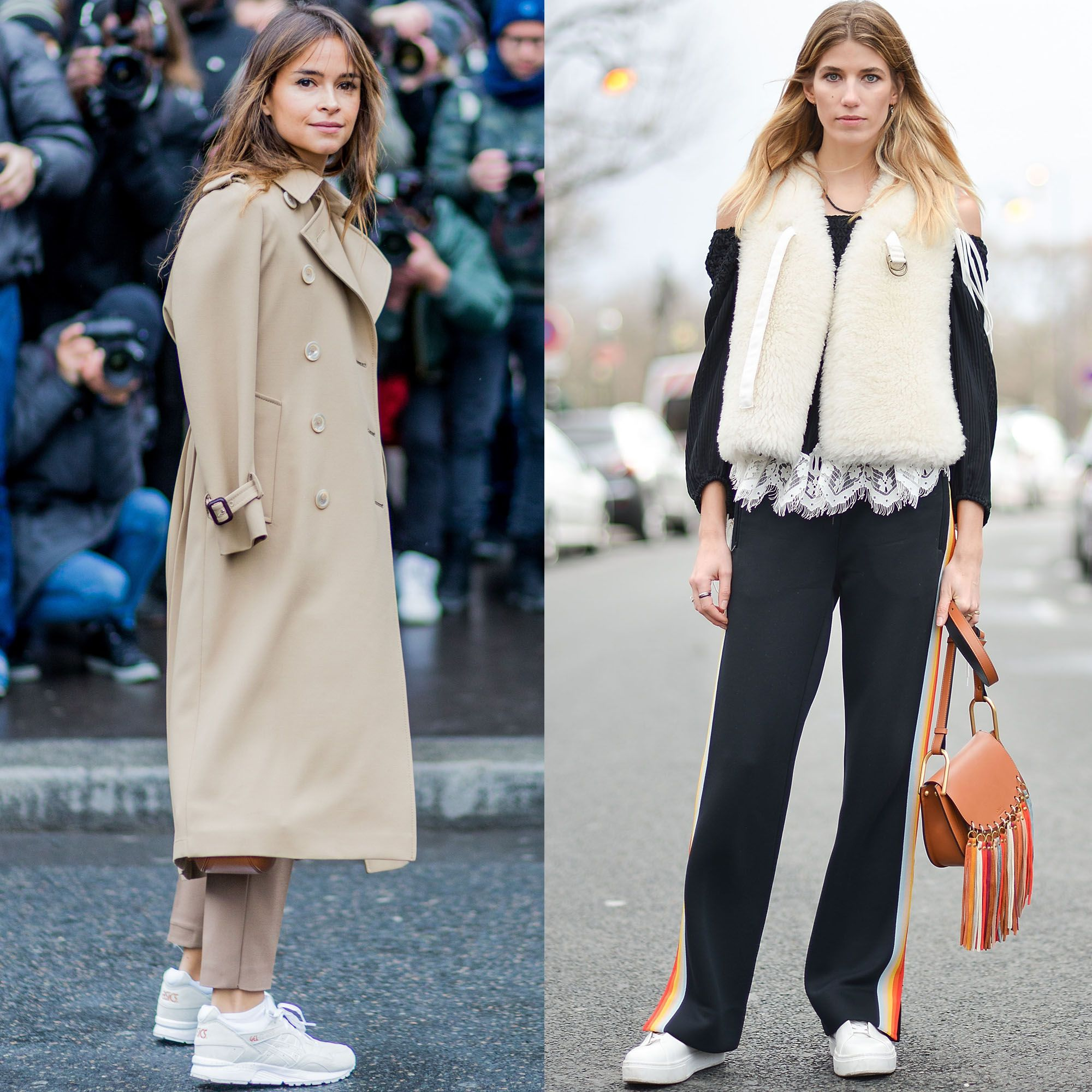 "<p>The comfortable-shoe reign continues, and the sneaker is king. Seen on the streets of Paris on Miroslava Duma and Veronika Heilbrunner<span class=""redactor-invisible-space"">; the front-row set wore their's with relaxed-fitting pants. </span></p>"