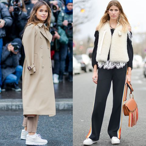"""<p>The comfortable-shoe reign continues, and the sneaker is king. Seen on the streets of Paris on Miroslava Duma and Veronika Heilbrunner<span class=""""redactor-invisible-space"""">; the front-row set wore their's with relaxed-fitting pants. </span></p>"""