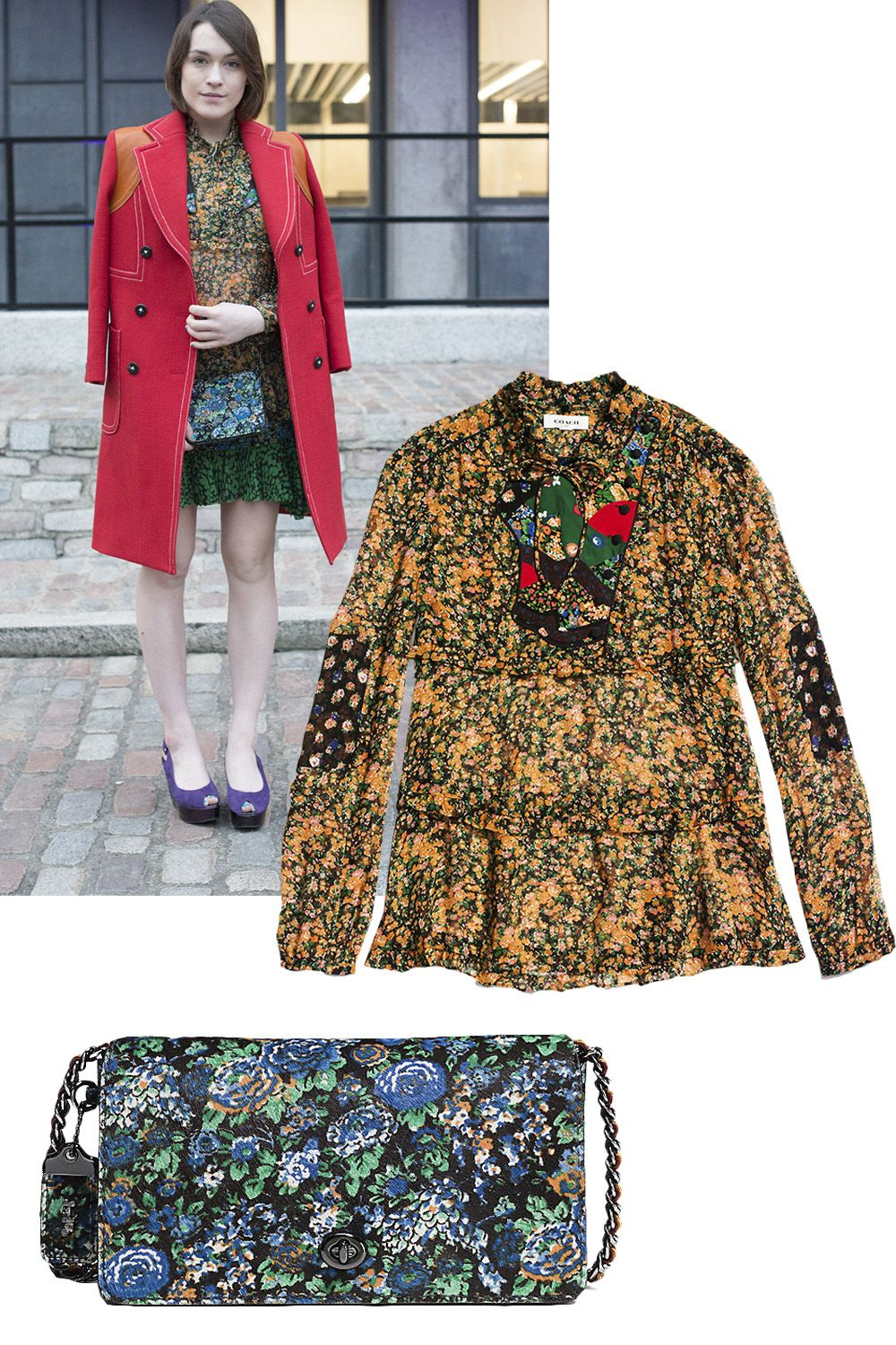 """<p><strong>Who: </strong>Ella Catliff </p><p><strong>Style Lesson: </strong>Juxtapose bright buds, like a floral blouse with a contrasting floral purse.<br> </p><p><em>Coach <em>1941</em> Side Opening Blouse With Applique, $450, <a rel=""""noskim"""" href=""""http://www.coach.com/coach-designer-tops-side-opening-blouse-with-applique/86681.html?dwvar_color=YEO&CID=D_B_HBZ_10370"""" target=""""_blank"""">coach.com</a>; Coach <em>1941</em> Dinky Crossbody in Printed Haircalf, $595, <a rel=""""noskim"""" href=""""http://www.coach.com/coach-designer-crossbody-dinky-crossbody-in-printed-haircalf/38209.html?dwvar_color=DKFG5&CID=D_B_HBZ_10340"""" target=""""_blank"""">coach.com</a></em></p>"""
