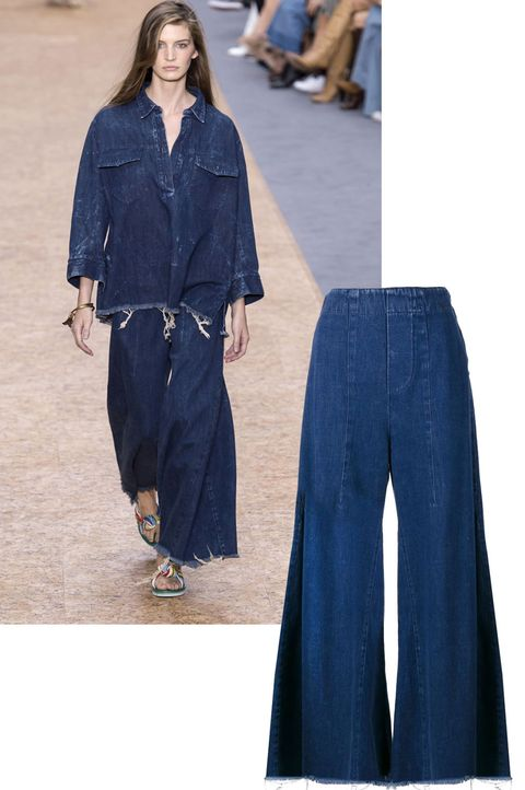 "<p>The flared jean has been around for many seasons, and the wide leg Chloé jean is the next evolution.<br><br><em><strong>Chloé</strong> wide leg jean, $750, <strong><a href=""https://shop.harpersbazaar.com/designers/c/chloe/wide-leg-fray-denim-8769.html"" target=""_blank"">shopBAZAAR.com</a></strong></em><em>.</em><br></p>"