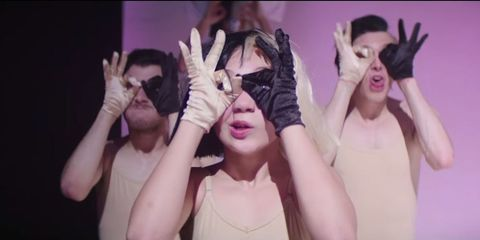 Finger, Eye, Social group, Hand, Purple, Youth, Fashion, Eyelash, Wrist, Gesture,
