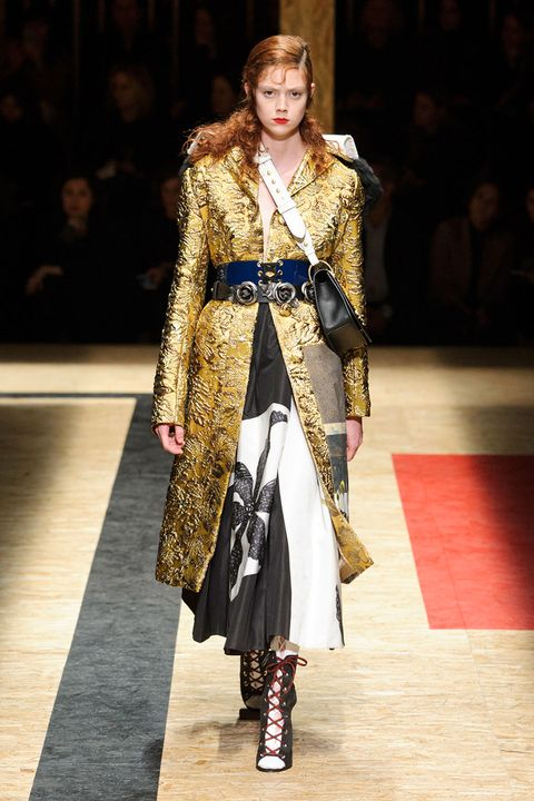 <p>Designers from Prada to Dries Van Noten subscribe to the idea that the more ornate the better—and double points for gilded accents. </p><p><em>Pictured: Prada</em></p>