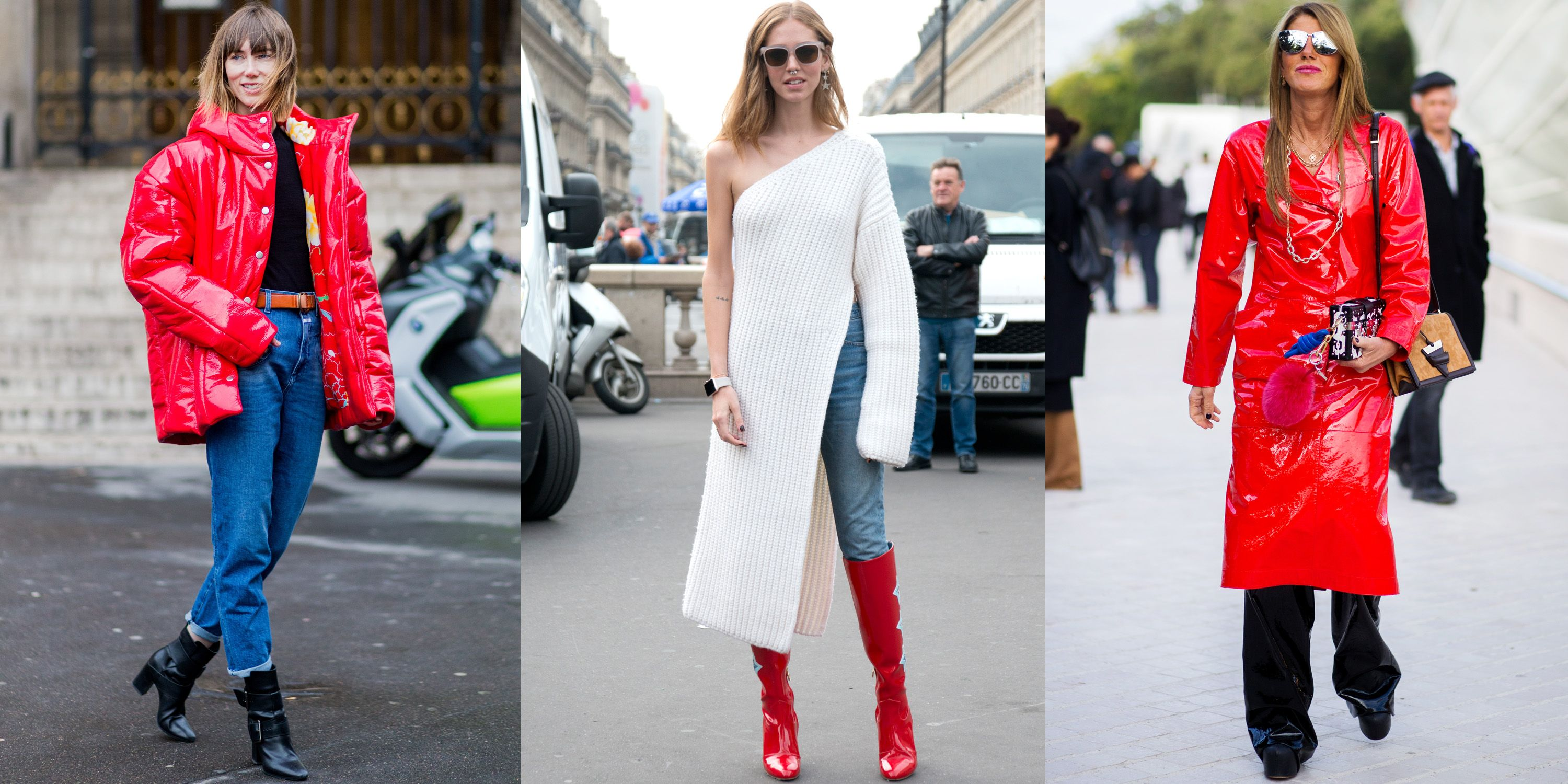 <p>Anya Ziourova, Chiara Ferragni and Anna dello Russo show the serious impact of red patent on otherwise straightforward looks.</p>