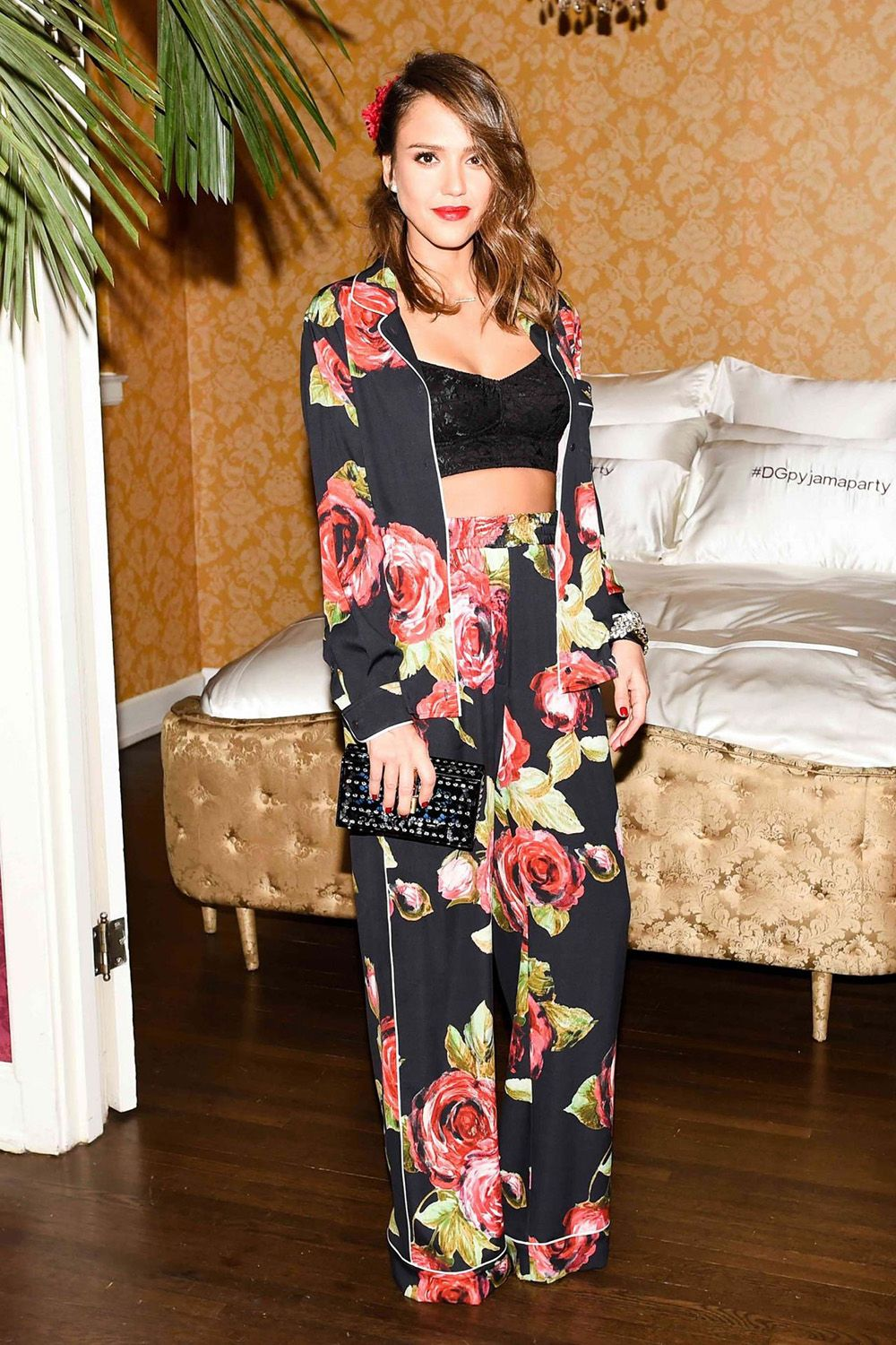 "<p>Whether you're going to an <em>actual</em> pajama party—like<span class=""redactor-invisible-space""> Jessica Alba at a Dolce & Gabbana event in New York City—<span class=""redactor-invisible-space"">or doing cocktail hour, luxurious loungewear in chic floral prints is the look <em>du jour</em>.</span></span></p>"