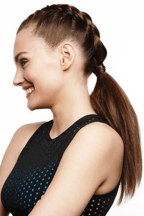 "<p><strong></strong>With this elegant take on the boxing braid, you can sprint on the treadmill or take on a punching bag without worrying about your hair getting in the way. Create a center part and do two French braids (one on either side or opt for a side part and braid only one side) leading into a low ponytail. Then slightly tease the pony for a voluminous, windblown effect and smooth strands with <a href=""http://bit.ly/1qV6WR2"" target=""_blank"">Nexxus New York Salon Care Encapsulate Sérum</a>. ""I love this look,"" says Lona Vigi, a celebrity stylist for Nexxus New York Salon Care. ""It's super chic yet youthful and works at the gym as well as lunch with the girls,"" she says.<br> </p><p><strong><br></strong> </p><p><em><strong>Alala</strong> Skydiver Cross Back Bra, $65, <a href=""http://alalastyle.com/collections/skydiver/products/cross-back-bra-skydiver"" target=""_blank"">alalastyle.com</a></em></p>"
