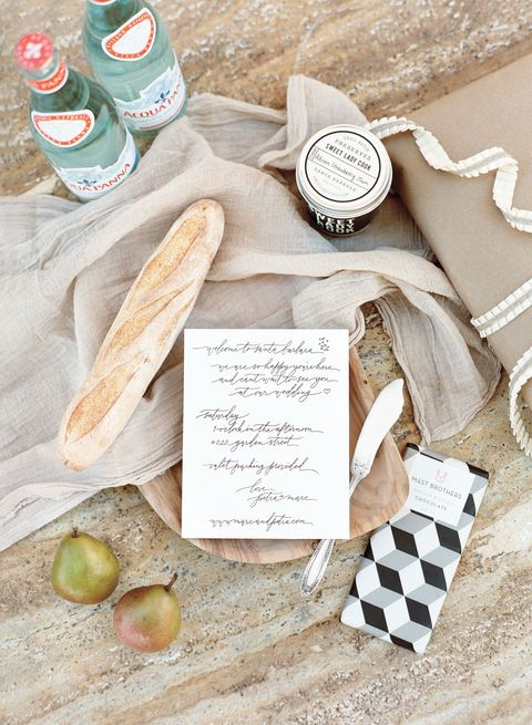 "<p>Visiting guests each received welcome baskets that included petite baguettes, <a href=""http://sweetladycook.com/"" target=""_blank"" tabindex=""-1"">Sweet Lady Cook</a> preserves, a <a href=""http://mastbrothers.com/"" target=""_blank"" tabindex=""-1"">Mast Brothers</a> chocolate bar, and a butter knife.</p>"