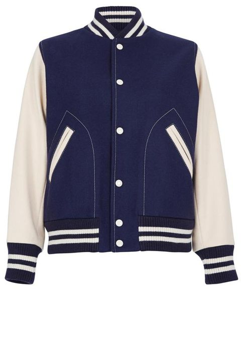 "<p>          <strong>Marc Jacobs </strong>varsity jacket, $850, <a href=""https://shop.harpersbazaar.com/designers/m/marc-jacobs/blue-and-cream-varsity-jacket-8818.html"" target=""_blank""><strong>shopBAZAAR.com</strong></a>.</p>"