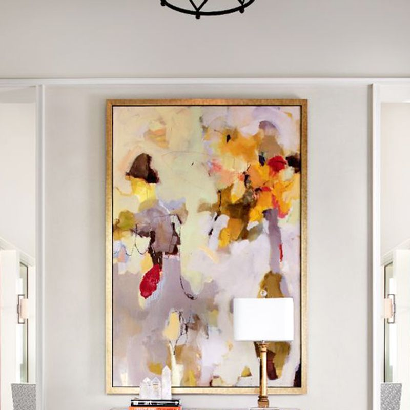 """<p>Swap out your current entryway art for a piece featuring soft pastel hues. </p><p><em><a href=""""http://collins-interiors.com/gallery/#gallery_pic_79"""" target=""""_blank"""">Via Collins Interiors</a></em></p>"""