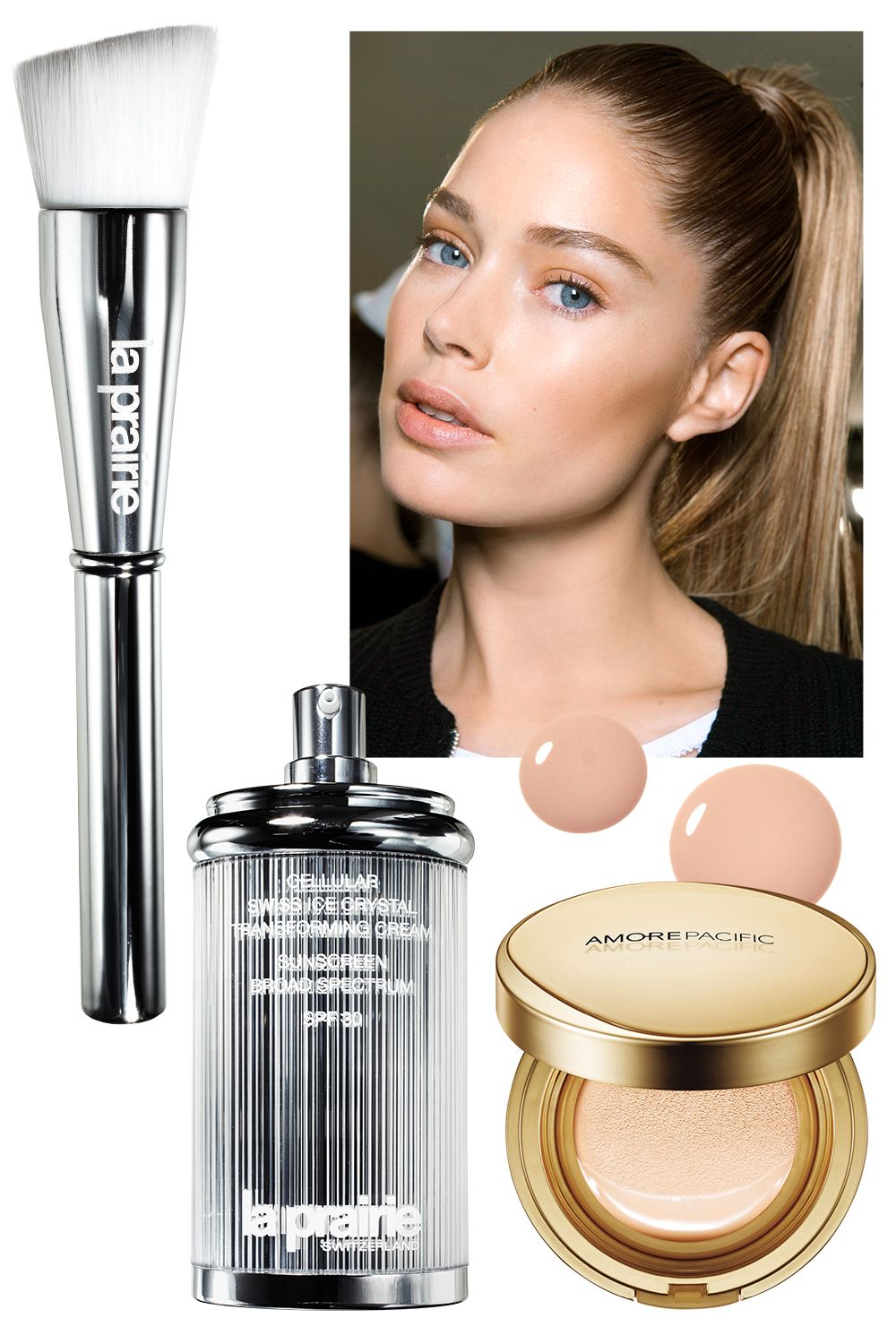 """<p>""""The most crucial anti-ager is SPF,"""" insists San Diego dermatologist Melanie Palm. Shave time off your morning routine by using a base with flaw fighters and SPF added in. For full coverage with potent green-tea extracts, pat on AmorePacific's creamy foundation. La Prairie's light tint has skin-protective algae and botanical extracts.</p><p><strong>La Prairie</strong> Cellular Swiss Ice Crystal Transforming Cream SPF 30, $195, <a href=""""http://www.laprairie.com/default/ice-crystal/cellular-swiss-ice-crystal-cream/95790-01128-23.html"""" target=""""_blank"""">laprairie.com</a>; For the ultra-perfect complexion seen at Balmain, try<strong> L'Oréal Paris</strong> Visible Lift CC Cream SPF 20, $13, <a href=""""http://www.lorealparisusa.com/en/products/makeup/face/bb-cream/visible-lift-cc-cream.aspx"""" target=""""_blank"""">lorealparis.com</a>; <strong>AmorePacific </strong>Age Correcting Foundation Cushion SPF 25, $80, <a href=""""http://us.amorepacific.com/age-correcting-foundation-cushion-broad-spectrum-spf-25-104?gclid=CjwKEAjwlfO3BRDR4Pj_u-iO2U0SJAD88y1SBrCVkg8FgBd5AtvS859HGCKNJgvaqoLnbgGE-qivehoCjFrw_wcB&gclsrc=aw.ds"""" target=""""_blank"""">amorepacific.com</a>. </p>"""