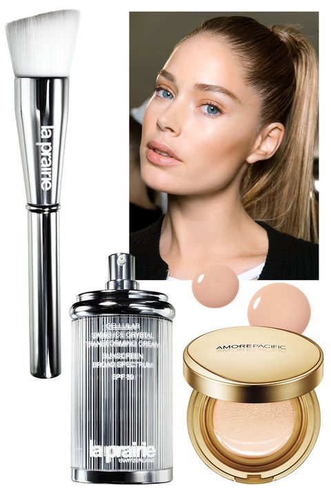 "<p>""The most crucial anti-ager is SPF,"" insists San Diego dermatologist Melanie Palm. Shave time off your morning routine by using a base with flaw fighters and SPF added in. For full coverage with potent green-tea extracts, pat on AmorePacific's creamy foundation. La Prairie's light tint has skin-protective algae and botanical extracts.</p><p><strong>La Prairie</strong> Cellular Swiss Ice Crystal Transforming Cream SPF 30, $195, <a href=""http://www.laprairie.com/default/ice-crystal/cellular-swiss-ice-crystal-cream/95790-01128-23.html"" target=""_blank"">laprairie.com</a>; For the ultra-perfect complexion seen at Balmain, try<strong> L'Oréal Paris</strong> Visible Lift CC Cream SPF 20, $13, <a href=""http://www.lorealparisusa.com/en/products/makeup/face/bb-cream/visible-lift-cc-cream.aspx"" target=""_blank"">lorealparis.com</a>; <strong>AmorePacific </strong>Age Correcting Foundation Cushion SPF 25, $80, <a href=""http://us.amorepacific.com/age-correcting-foundation-cushion-broad-spectrum-spf-25-104?gclid=CjwKEAjwlfO3BRDR4Pj_u-iO2U0SJAD88y1SBrCVkg8FgBd5AtvS859HGCKNJgvaqoLnbgGE-qivehoCjFrw_wcB&gclsrc=aw.ds"" target=""_blank"">amorepacific.com</a>. </p>"