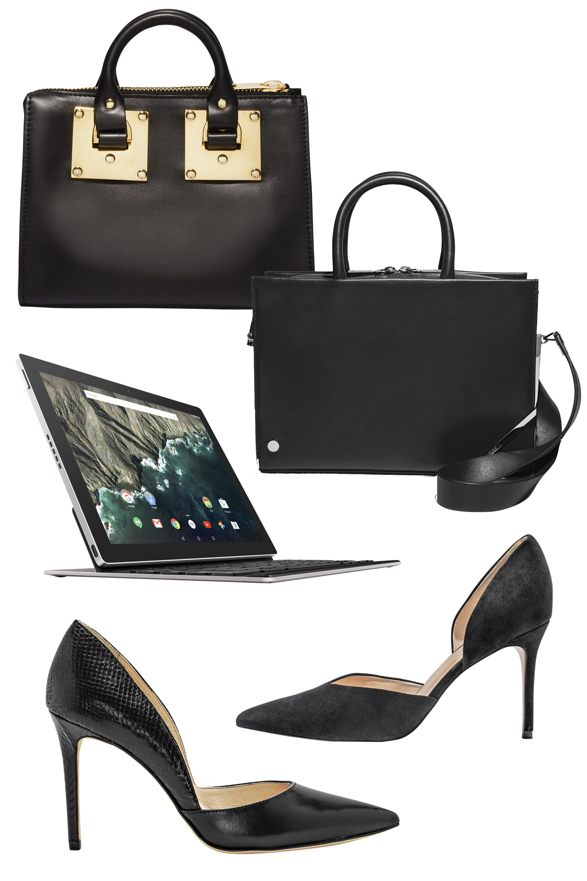 "<p><strong>STYLIST'S TIP</strong>: A black satchel has day-to-night appeal.<span class=""redactor-invisible-space""></span> </p><p>• Opt for a structured, top-handle bag.<br> </p><p>• Elongate your legs with sophisticated pointed-toe pumps. </p><p>• Choose classic gold statement jewelry for a feminine accent. </p><p><strong>Sophie Hulme</strong> tote, $985, <a href=""http://www.sophiehulme.com/"">sophiehulme.com</a>; <strong>Mugler</strong> bag, $2,400, Bergdorf Goodman; 888-774-2424; <strong>Google Pixel C</strong> tablet, $499, and keyboard, $149, <a href=""http://www.google.com/"">store.google.com</a>; <strong>Louise et Cie</strong> pump, $118, <a href=""http://www.louiseetcie.com/"">louiseetcie.com</a>; <strong>Marc Fisher</strong> LTD pump, $160, <a href=""http://www.marcfisherfootwear.com/"">marcfisherfootwear.com</a>.</p>"