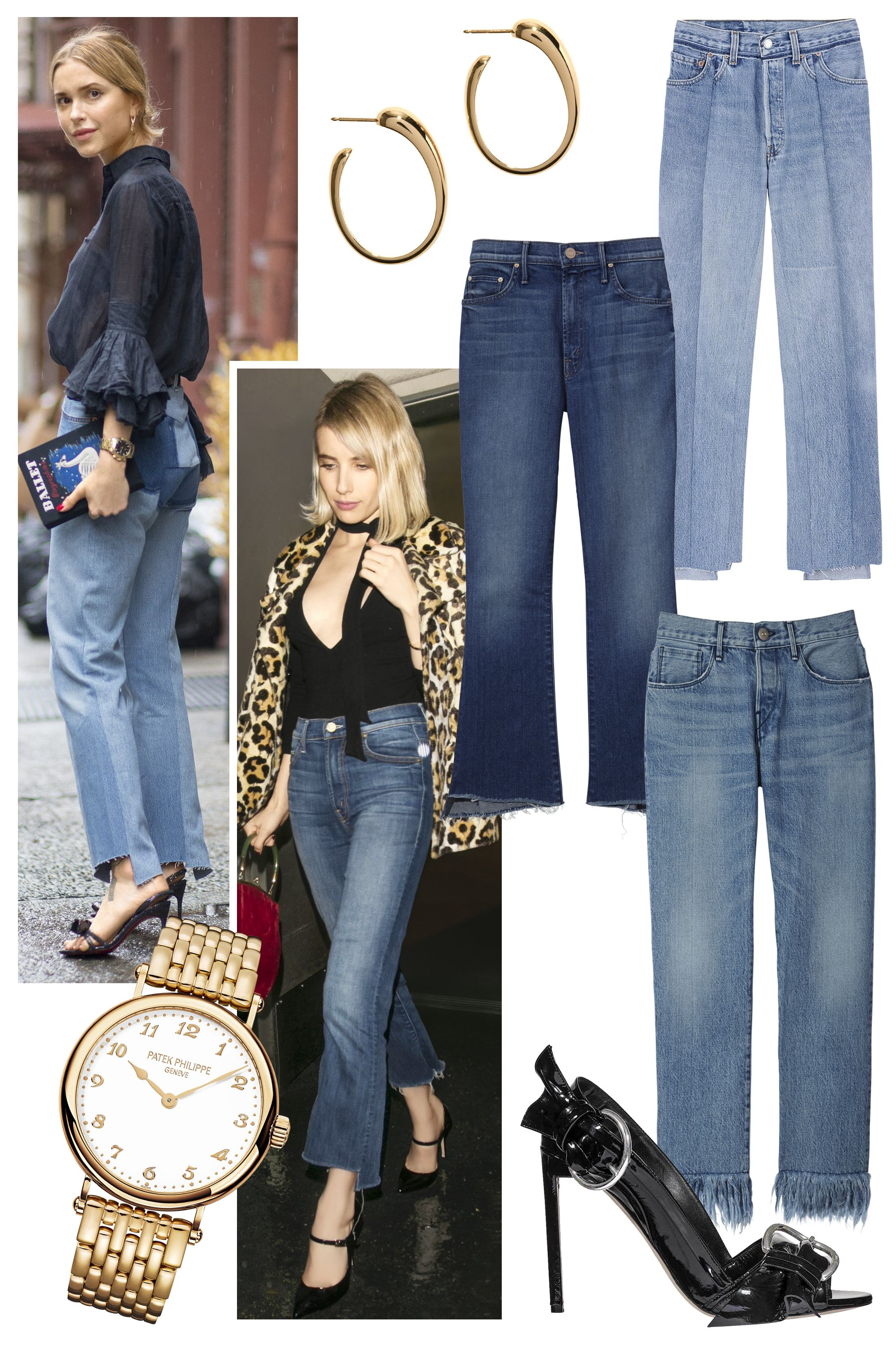 "<p>Ever since the German label Vetements showed its must-have denim for Spring 2015 with frayed, uneven hems, It girls everywhere have taken a liking to the statement style. Let your legs do the talking and wear them with classic accessories like black stilettos and gold jewelry, à la Pernille Teisbaek.</p><p>Pernille Teisbaek in Vetements jeans<span class=""redactor-invisible-space"">; Emma Roberts in Mother jeans<span class=""redactor-invisible-space"">;</span> <strong>Pomellato</strong> earrings, $5,600, 800-254-6020; <strong>Vetements</strong> jeans, $1,395, Dover Street Market, NYC, 646-837-7750, <strong>Mother </strong>jeans, $208,  <a href=""http://www.motherdenim.com/"">motherdenim.com</a><span class=""redactor-invisible-space"">; <strong>3x1</strong> jeans, $295, 212-391-6969; <strong>Patek Philippe </strong>watch, 212-218-1240; <strong>Dior</strong> shoe, $1,040; 800-929-DIOR.</span></span></p>"