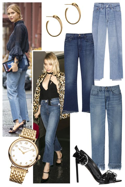 """<p>Ever since the German label Vetements showed its must-have denim for Spring 2015 with frayed, uneven hems, It girls everywhere have taken a liking to the statement style. Let your legs do the talking and wear them with classic accessories like black stilettos and gold jewelry, à la Pernille Teisbaek.</p><p>Pernille Teisbaek in Vetements jeans<span class=""""redactor-invisible-space"""">; Emma Roberts in Mother jeans<span class=""""redactor-invisible-space"""">;</span> <strong>Pomellato</strong> earrings, $5,600, 800-254-6020; <strong>Vetements</strong> jeans, $1,395, Dover Street Market, NYC, 646-837-7750, <strong>Mother </strong>jeans, $208,  <a href=""""http://www.motherdenim.com/"""">motherdenim.com</a><span class=""""redactor-invisible-space"""">; <strong>3x1</strong> jeans, $295, 212-391-6969; <strong>Patek Philippe </strong>watch, 212-218-1240; <strong>Dior</strong> shoe, $1,040; 800-929-DIOR.</span></span></p>"""