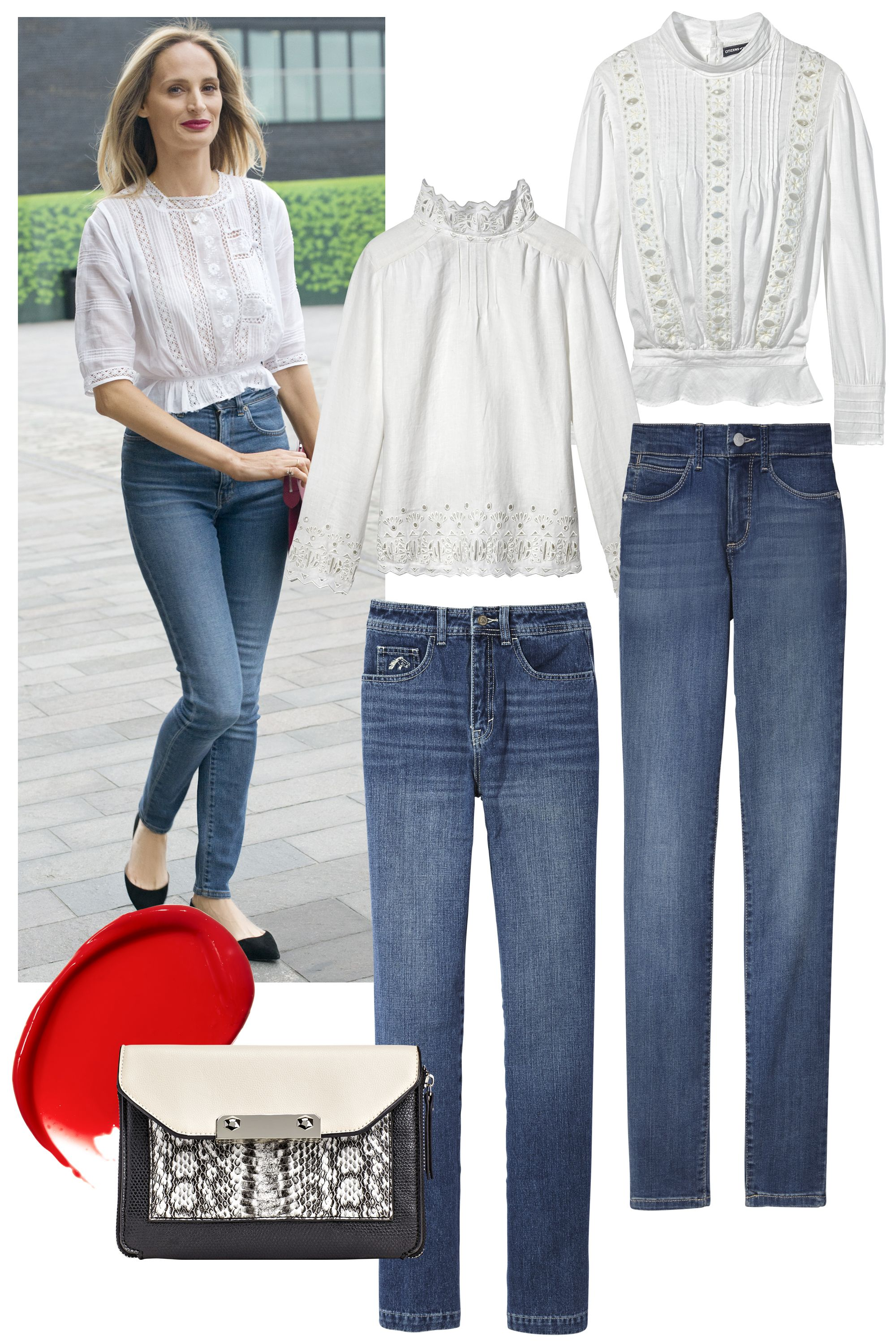 "<p>The skinny jean gets romantic when worn with an ultrafeminine blouse. Channel Moda Operandi's Lauren Santo Domingo by accenting the look with ballet flats and a bright-red lip.</p><p><strong>Citizens of Humanity </strong>blouse, $398, <a href=""http://www.shopbop.com/"">shopbop.com</a>; <strong>Bliss and Mischief </strong>blouse, $438,  <a href=""http://www.blissandmischief.com/"">blissandmischief.com</a>; <strong>NYDJ</strong> jeans, $124, <a href=""http://www.nydj.com/"">nydj.com</a>; <strong>The Jordache Look</strong> jeans, $108,  <a href=""http://www.jordache.com/"">jordache.com</a>; <span class=""redactor-invisible-space"" style=""line-height: 1.6em; background-color: initial;""><strong>Chanel </strong>Rouge Coco Shine Hydrating Sheer Lipshine in Shipshape, $37,  <a href=""http://www.chanel.com/"">chanel.com</a>; <strong>Aldo</strong> bag, $45. <a href=""http://www.aldoshoes.com/"">aldoshoes.com</a>. </span><br></p>"