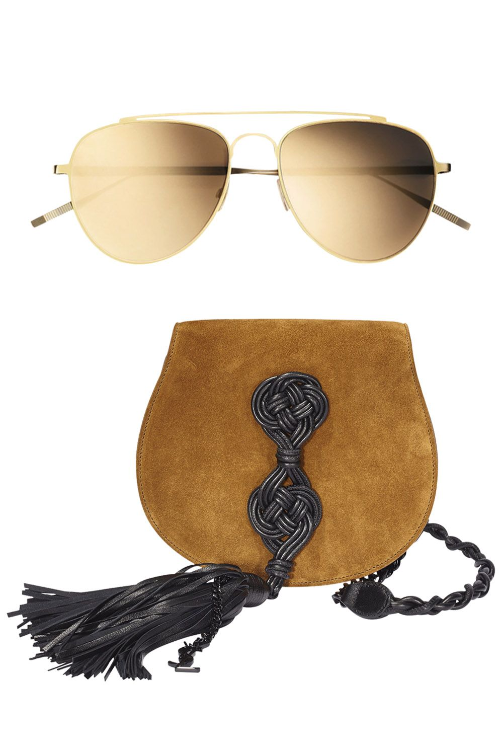 "<p>A Saint Laurent bag with Tomas Maier sunglasses inside.</p><p><strong>Tomas Maier </strong>sunglasses, $250, 212-988-8686; <strong>Saint Laurent by Hedi Slimane </strong><span class=""redactor-invisible-space"">bag, $1,990, 212-980-2970. </span></p>"
