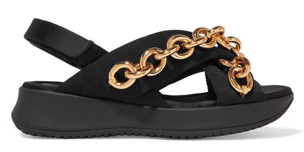 "<p><strong>Burberry </strong>sandal, $750, <a href=""http://burberry.com"" target=""_blank"">burberry.com</a>. </p>"