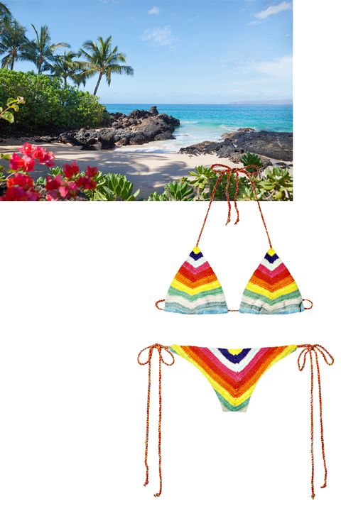 """<p><strong>Ideal vacation: </strong>Maui, by car or by helicopter.</p><p><strong>Workout routine: </strong>A combination of stretching, strength-training, and cardio.</p><p><strong><em>Mara Hoffman </em></strong><em> bikini top, $90, and bottom, $170,  <a href=""""http://www.marahoffman.com/"""">marahoffman.com</a></em><span class=""""redactor-invisible-space""""><em>; Maui</em></span><br></p>"""