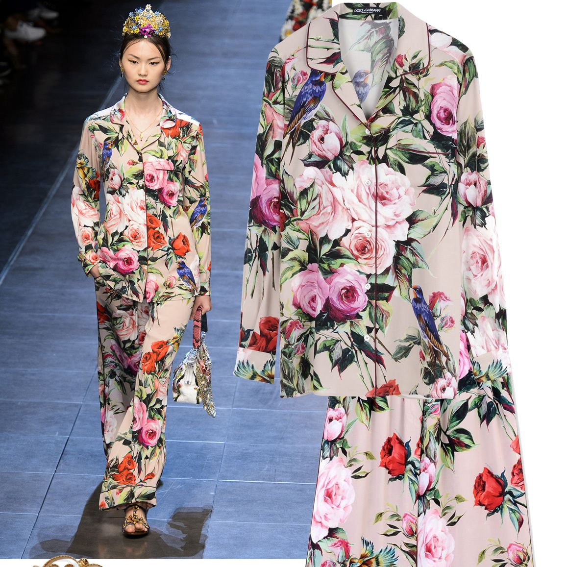 "<p>Pajama's are no longer reserved for the bedroom.</p><p><em><strong>Dolce & Gabbana</strong> earrings, $345, <strong><a href=""https://shop.harpersbazaar.com/designers/d/dolce-and-gabbana/earrings-8710.html"" target=""_blank"">shopBAZAAR.com</a></strong>&#x3B; <strong>Dolce & Gabbana</strong> printed top, $1,595, <strong><a href=""https://shop.harpersbazaar.com/designers/d/dolce-and-gabbana/long-sleeve-shirt-8716.html"" target=""_blank"">shopBAZAAR.com</a></strong>&#x3B; <strong>Dolce & Gabbana</strong> printed pant, $1,595, <strong><a href=""https://shop.harpersbazaar.com/designers/d/dolce-and-gabbana/pink-floral-printed-pant-8618.html"" target=""_blank"">shopBAZAAR.com</a></strong><span class=""redactor-invisible-space"">.</span></em><em> </em><br></p>"